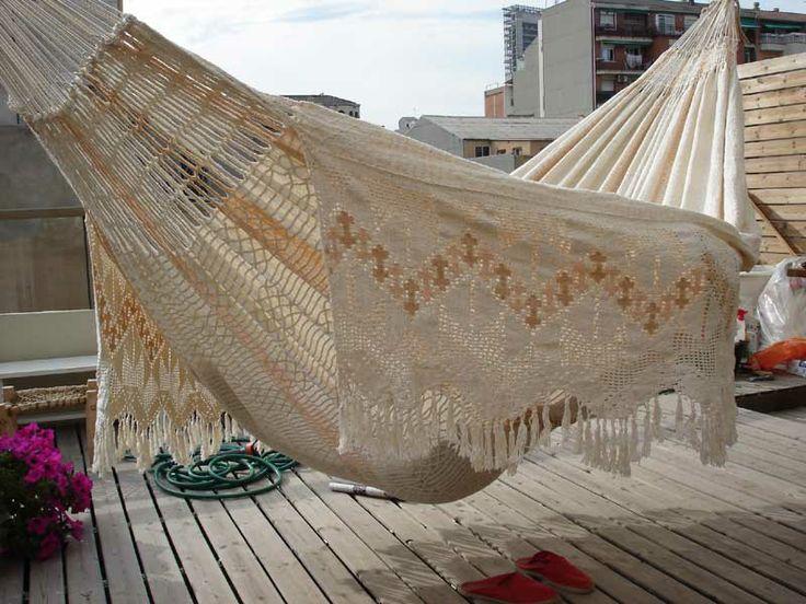 Deze hangmat is gemaakt door de Wayuu indianen, die leven in de woestijnen van La Guajira in Colombia en Venezuela.