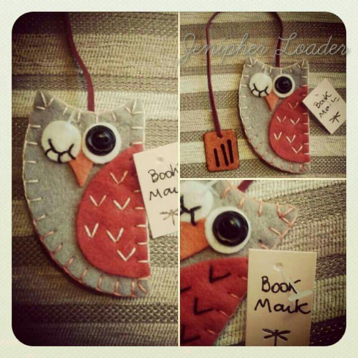 Bookmark owl fieltro felt feltro felting craft diy