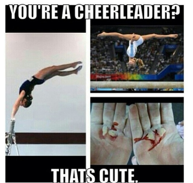 Not being rude but thought this was funny cheerleaders get hurt too no disrespect