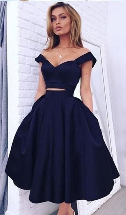 Off the Shoulder Prom Dress,Short Homecoming Dress,Navy Prom Dresses,Satin Homecoming Dress,Elegant Homecoming Dresses,Short Evening Dresses #eveningdresses #shortpromdresses