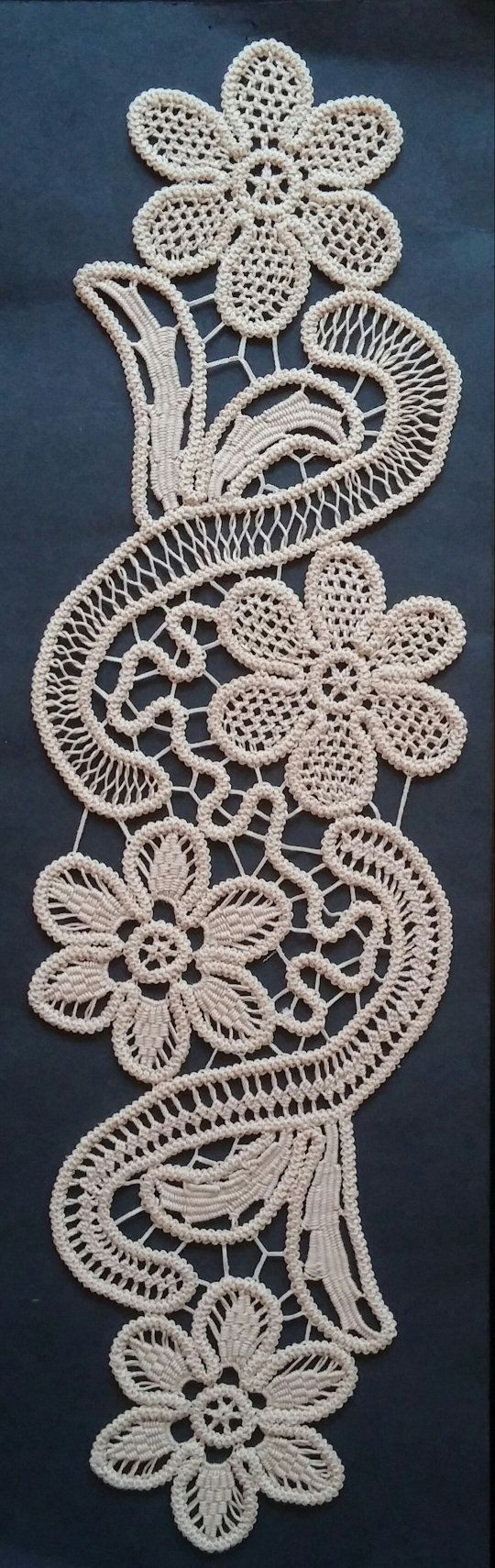 "Point Lace Romanian Style Crochet Doily, Tan, Floral Pattern, 17"" x 5""  #33"