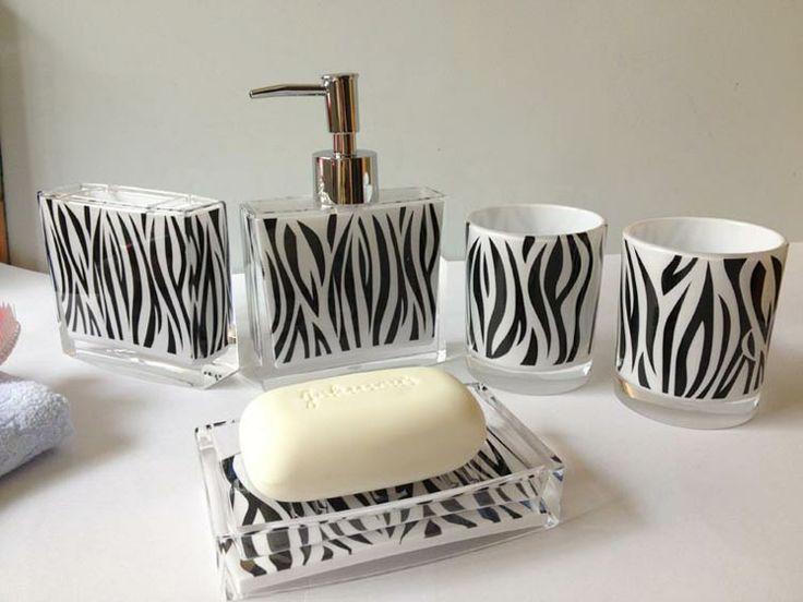 fashion zebra print bathroom set acrylic bathroom five pieces set piece set wash set black and