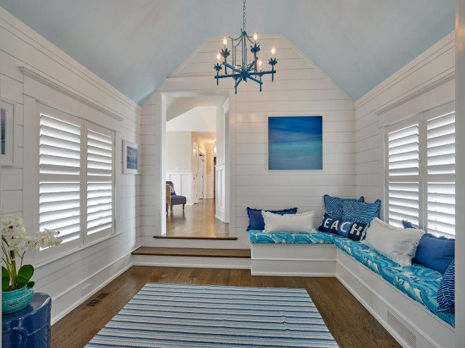 Shiplap Millwork Bonus Room With Slanted Ceiling And