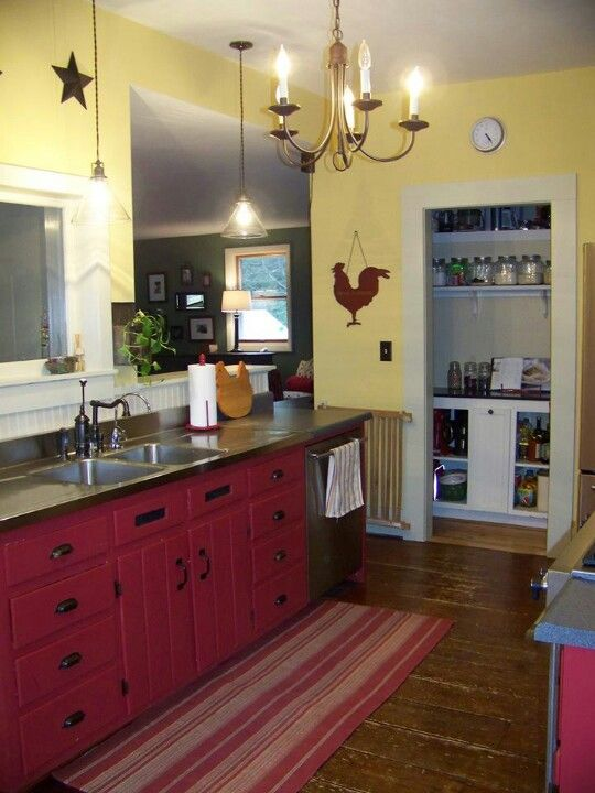 627 best the red and yellow cottage images on pinterest - Country kitchen wall colors ...