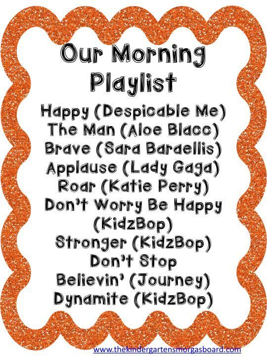 A playlist for morning arrival in your classroom. Upbeat/fast/exciting music…