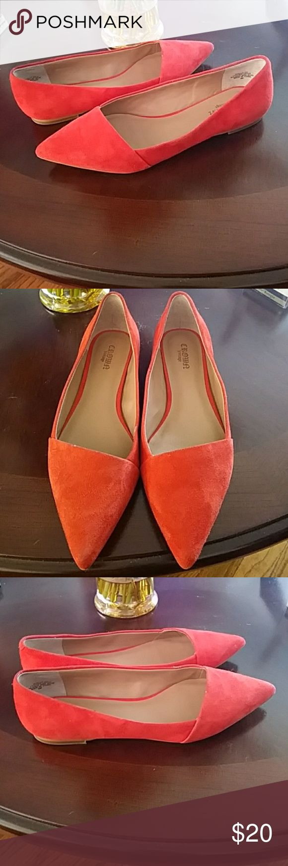 ❤Nwot Beautiful Vintage pointed toe Coral Flats!! These flats are perfect for Spring & Summer..The Color is bold & very Vibrant!!! These would pair perfect with anything dresses, Skirts, Shorts!! Perfect Shoe made out of Suede & Leather..   No Discount *Firm on Price* Crown Vintage Shoes Flats & Loafers