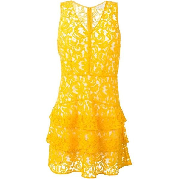 Michael Michael Kors sleeveless lace dress (£175) ❤ liked on Polyvore featuring dresses, yellow, yellow lace dress, sleeveless lace dress, no sleeve dress, sleeveless cocktail dress and michael michael kors