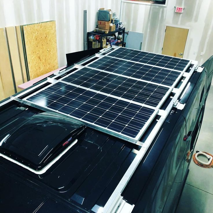 400 Watts Of Renogysolar Is In And Ready To Go I Built And Installed This Custom Roof Rack Using Fianna Awning Moun Rv Solar Panels Solar Panels Roof Rv Solar