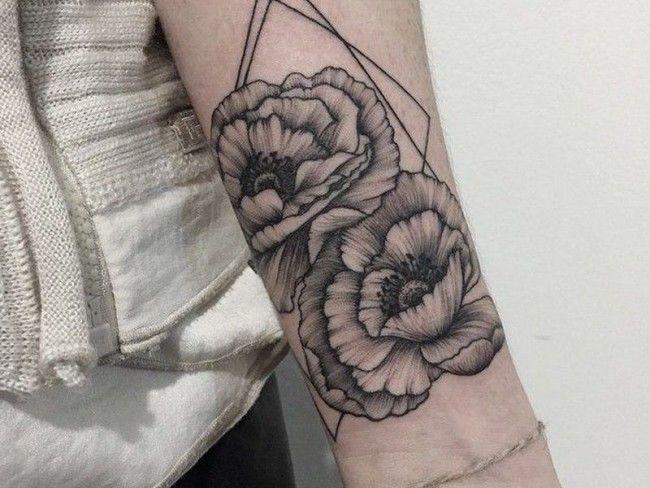 Peony geometric Tattoo