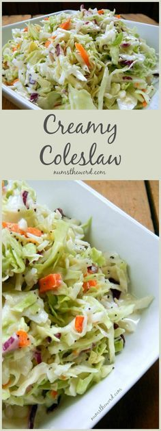 If you love coleslaw then you MUST try this one! It's sweet, creamy and oh so good! Perfect on hot dogs, pulled pork or as a side dish at your barbecue!