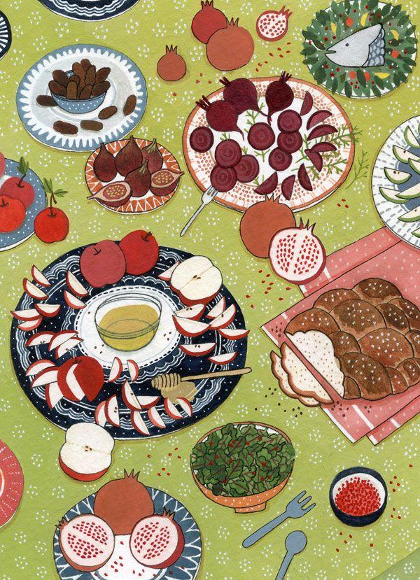 Food illustration. The little book of jewish celebrations - yelena bryksenkova