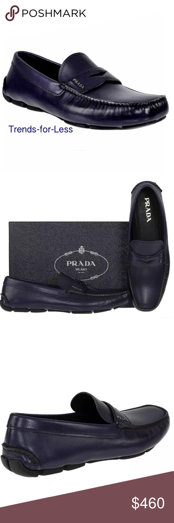 NIB Prada men's casual moccasins size 7 NEW WITH BOX AND DUST BAGS PRADA MILANO MEN'S CASUAL MOCCASINS.  MADE IN ITALY. 100% AUTHENTICITY GUARANTEED. LUXURY QUALITY INCHIOSTRO(INK) BLUE COLOR  100% LEATHER SHOES, SILVER TONE METAL PRADA LOGO LETTERING.  COMFORTABLE BLACK RUBBER SOLE.  SIZE PRADA 7.  Comparable to a US size 8 Prada Shoes Moccasins