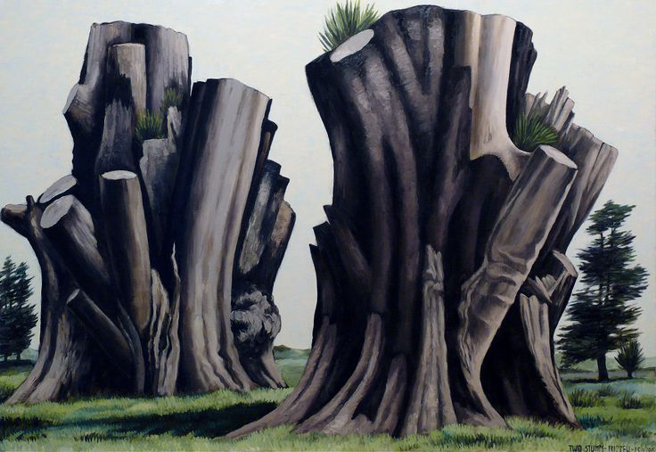 Dick Frizzell, 2015, Two Stumps, acrylic on canvas, 1800 x 2600mm