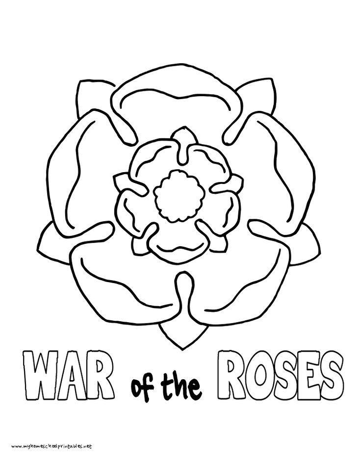 World History Coloring Pages Printables War Of The Roses House Tudor