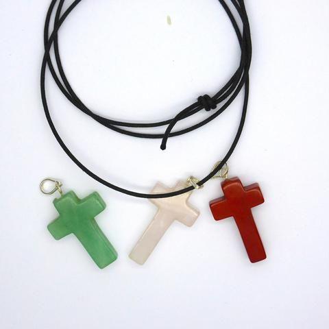 Hand Carved Cross Pendant | Rose Quartz | Green Aventurine Red Jasper | Crystal Heart Australia since 1986