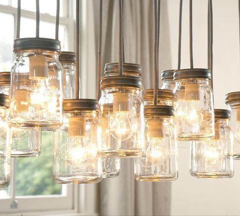 what a great DIY idea Pottery Barn <3: Kitchens, Lamps, Ball Jars, Idea, Lights Fixtures, Trav'Lin Lights, Pendants Lights, Mason Jars Lights, Pottery Barns