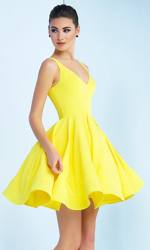 d84702cac79ebc Sleeveless Fit-and-Flare Party Dress with V-Neck in 2019 | prom ...