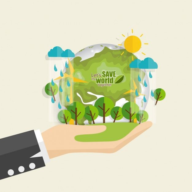 Save the world planet in hand with rain Free Vector