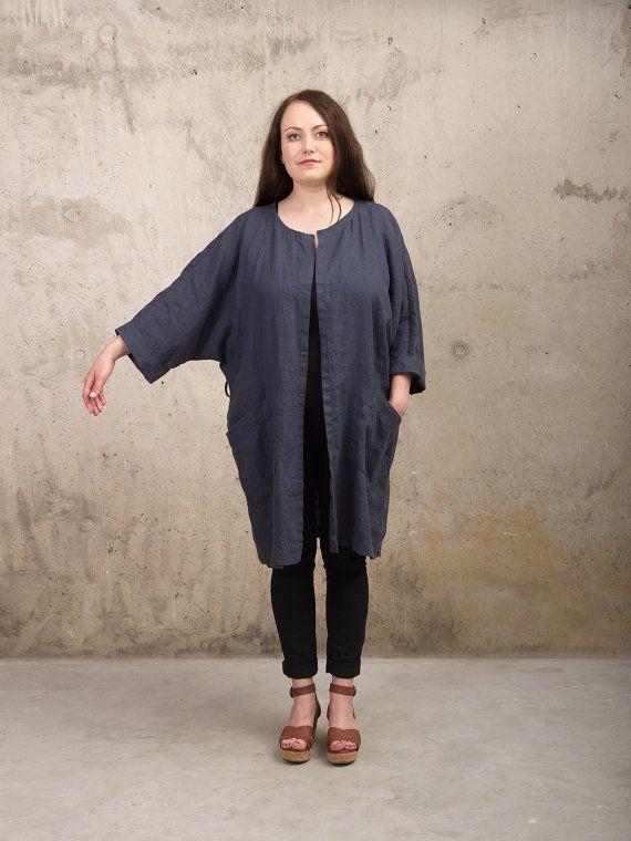 Linnen kleding SS16 - Womens linnen Kimono zomer jas donkergrijs - Oversize Kimono badjas met zakken - losse Plus grootte jas natuurlijke vlas passen