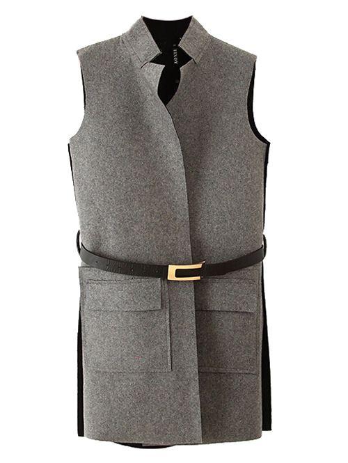 Wholesale Stand collar long style sleeveless vest coat free belt MS-P1656 - Lovely Fashion
