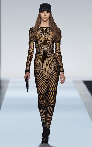 Herve Leger Fall 2013 Runway: Giana Scroll Jacquard Studded Dress.