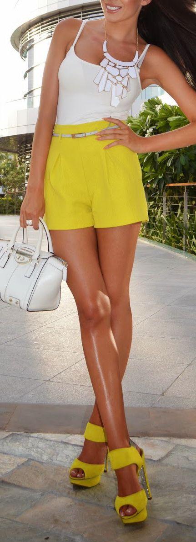 Yellow shorts + Kurt Geiger Heels