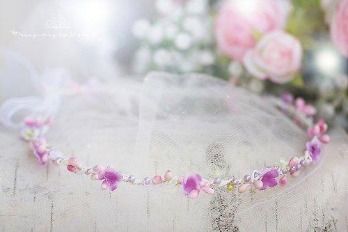 romantická jemná květinková tiara