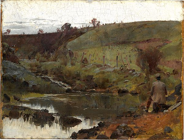 """""""A quiet day on Darebin Creek"""" by Tom Roberts, 1885. At the National Gallery of Australia, Canberra. Accession No: NGA 69.4"""