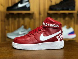 820fd28507d Nike Air Force 1 High Supreme AF1 World Famous Red White 698696-610 Mens  Womens Sneakers