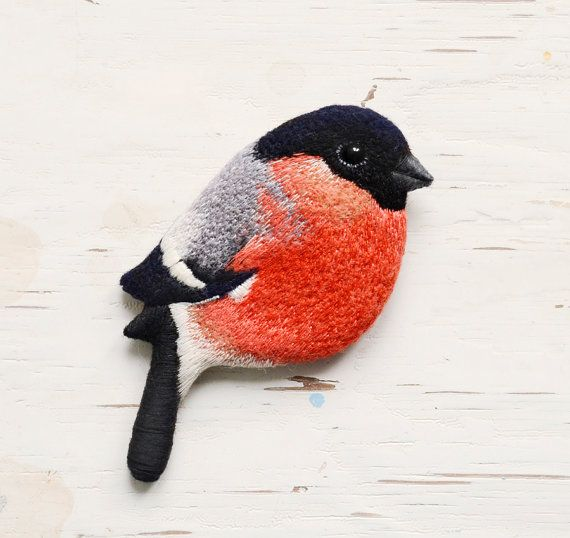 Bullfinch Brooch - hand embroidered by cOnieco on Etsy