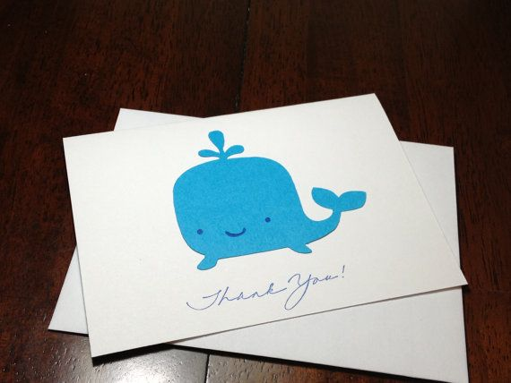Handmade Blue Whale Thank You Note Card Set by DesigningMoments