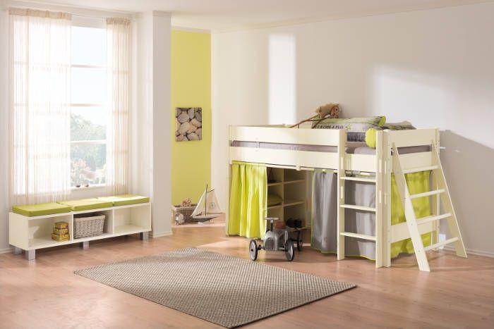 Paidi BIANCOMO Spielbett Höhe 125 cm, mit gerader Griffleiter und Sprossenwand.  Lowboard mit Sitzkissen in Apfelgrün. Gute Höhe - man kann v.a. noch vernünftig das Bett machen und wenn man unten nur eine Höhle will und keinen Schreibtisch, sollte das auch reichen.