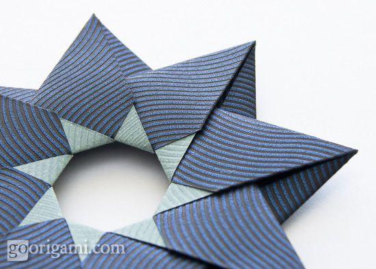 Modular origami star, Robin Star by Maria Sinayskaya - diagram. Versions 2011 and 2012.