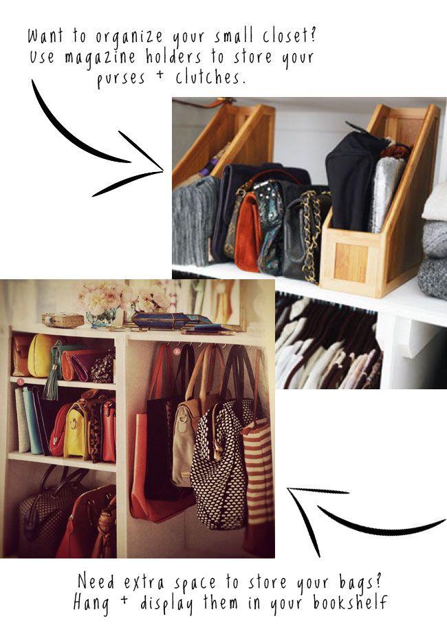 storing handbags - great ideas!