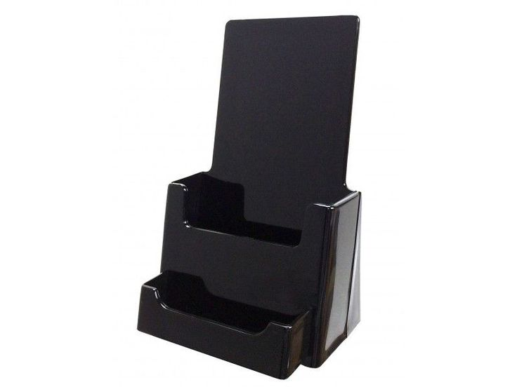 BLACK Tri Fold Brochure Display 4x9 with Business Card