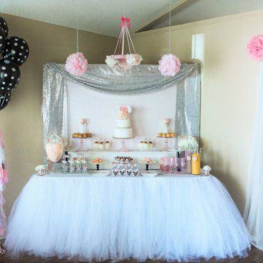 white tulle table skirt