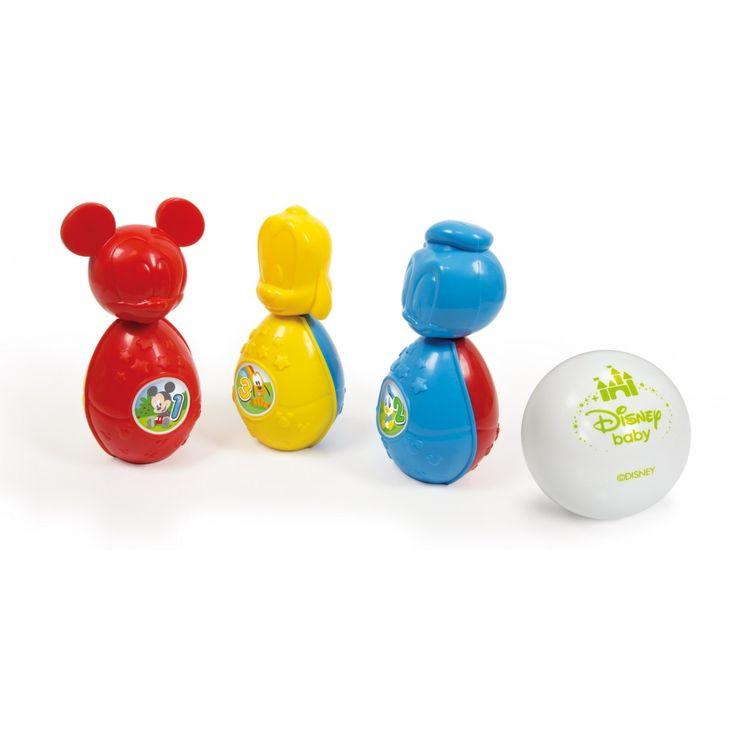 3 birilli con i personaggi di Baby Mickey, Babt Donald e Baby Pluto. Morbida palla in PVC.Età: 10+ mesi