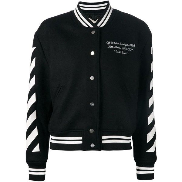 Off-White striped bomber jacket (23,020 MXN) ❤ liked on Polyvore featuring outerwear, jackets, black, off white jacket, bomber jacket, embroidered jacket, stand up collar jacket and striped bomber jacket