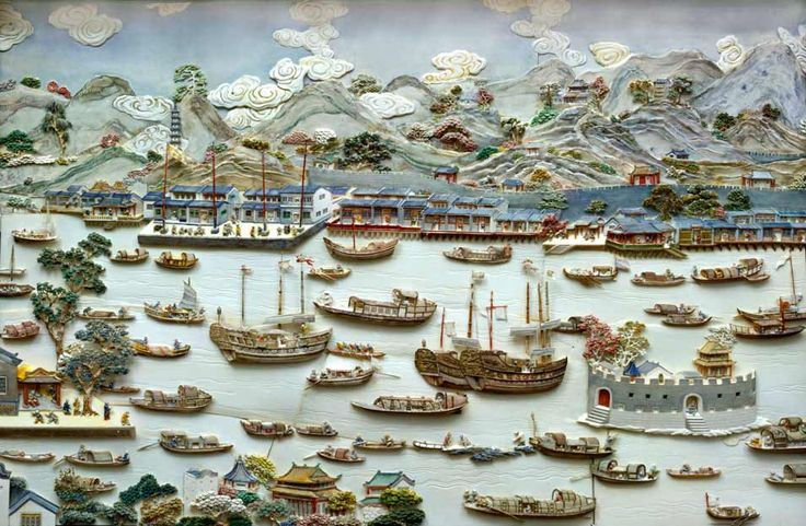 Chinese 'diorama' or montage: View of Canton - c1750-1800 - Peabody Essex Museum