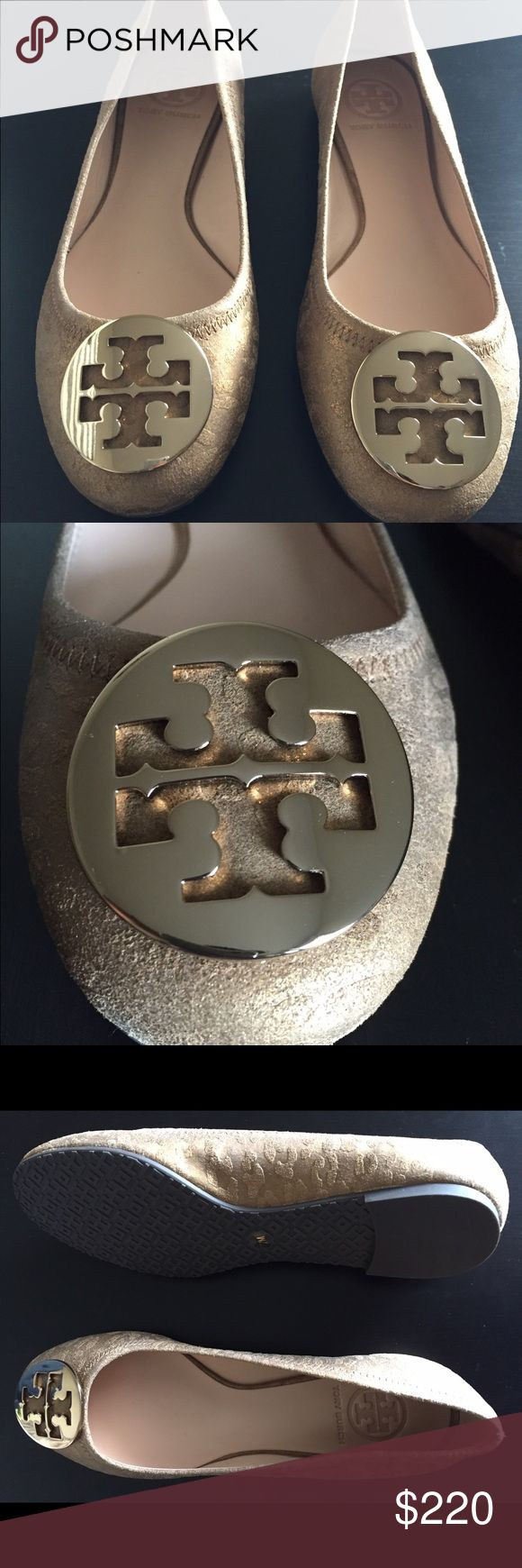 "Tory Burch ""Reva"" Ballet Flats (US Size 7M) Type:Flats Size:7M Width:Regular (M, B) Heel Height:Flat Brand:Tory Burch Color:Bronze  BRAND NEW ITEM W/O BOX!! Tory Burch Shoes Flats & Loafers"