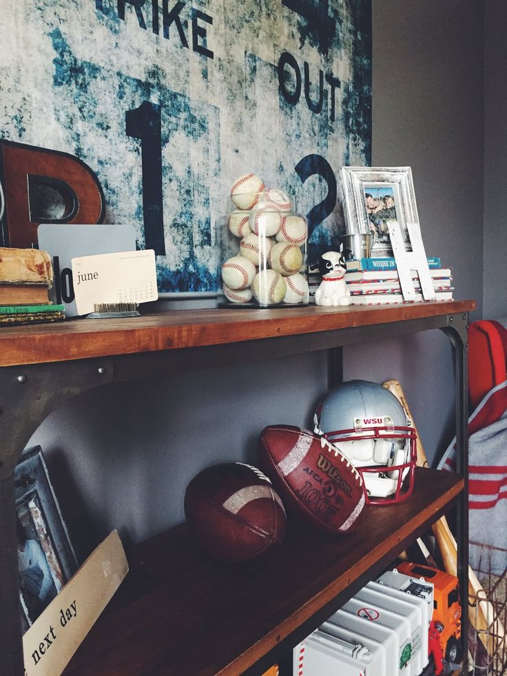 Vintage Athletic Boys Room Design, sports, baseball, football, decor, HENANDCO