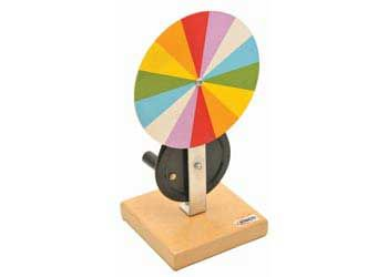 KIT : Newtons Colour Disc - Light & Colour - Rotate the colored disc to demonstrate that white light is composed of the seven colors of the spectrum.