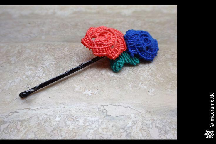 Macrame roses hairpin  Pinza per capelli in macrame con rose