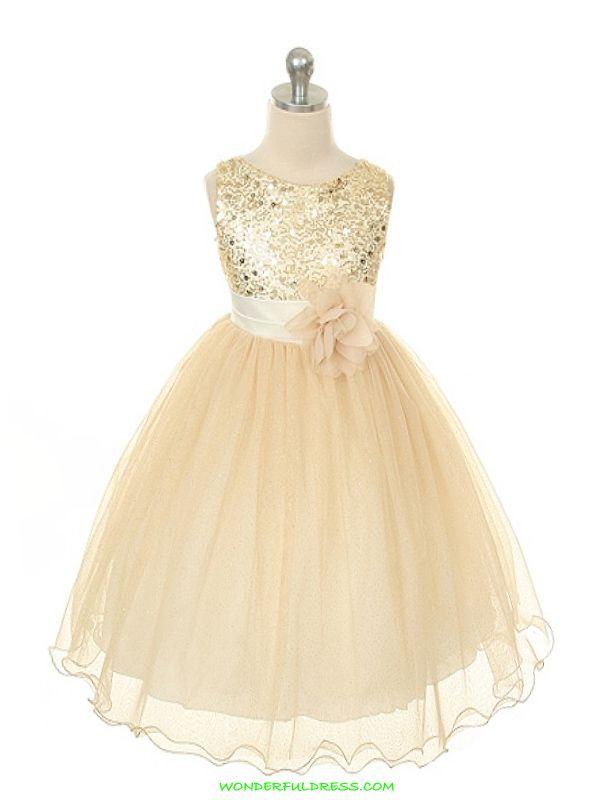 Gold Elegant Stunning Sequined Bodice Girl Dress