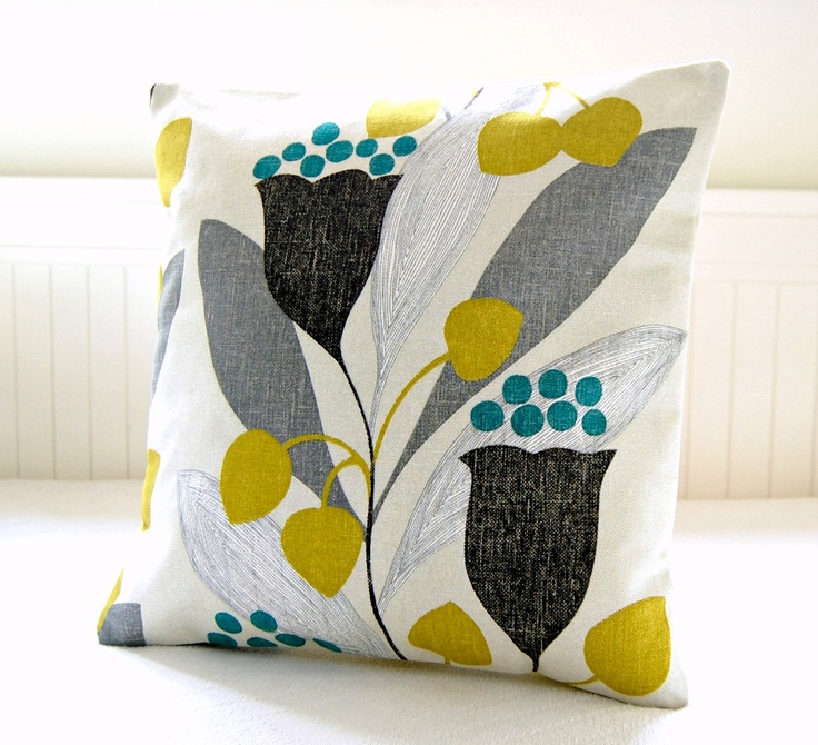 retro style pillow cover mustard leaves teal grey black, cushion cover 16 inch. £22.50, via Etsy.