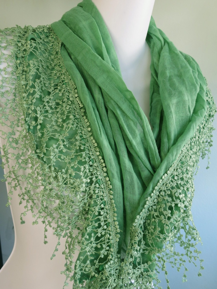 Green Jewelry Lace Woman by DesignerScarvesWorld on Etsy