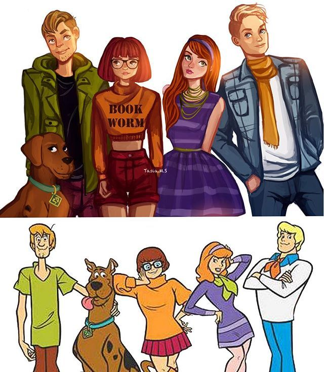My modern Mystery Inc. illustration vs the original animation style✨ (Full…