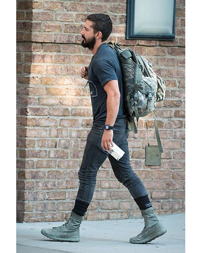 Shia Labeouf in New York  It's now becoming quite clear that Shia bought all those combat boots as part of a package deal at an army surplus store. The backpack's a nice touch. The boxed water brings it back down to Hollywood, though.