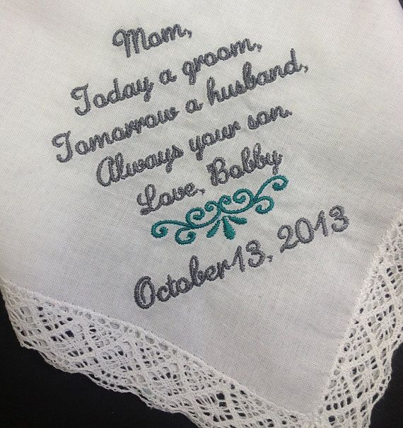 MOTHER Of The GROOM Handkerchief Hanky Hankie -  From the GROOM - Mom - MoG - Wedding  - Today A Groom Always Your Son
