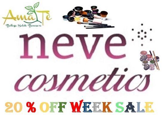 Neve Cosmetics Mineral Week sconto 20 %  NEVE COSMETICS Mineral Week ( = promozione per tutta la settimana !)   AMATE' MILANO NATURA E BENESSERE organizza un'intera settimana di promozione del Trucco Minareale.  da lunedì 3 ottobre a sabato 8 incluso  la promozione prevede il 20% di sconto su:  #fondotinta minerali - #ciprie minerali - #correttori minerali - #blush minerali - #bronze rminerali - #ombretti minerali - #lipgloss minerali   #AmaTè Milano